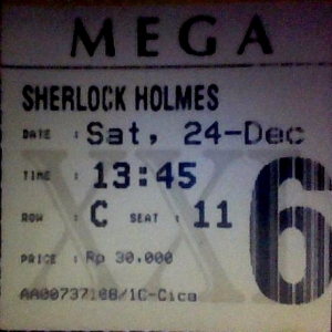 Ticket of Sherlock Holmes in Cinema XXI